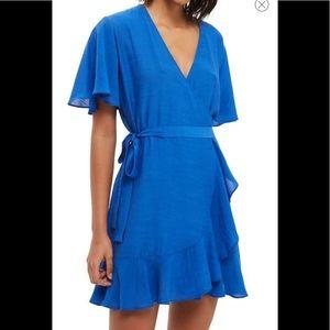 NWOT TopShop blue ruffle wrap dress- 2